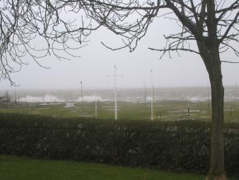 Blick aus der Wohnküche - Sturmflut im Februar
